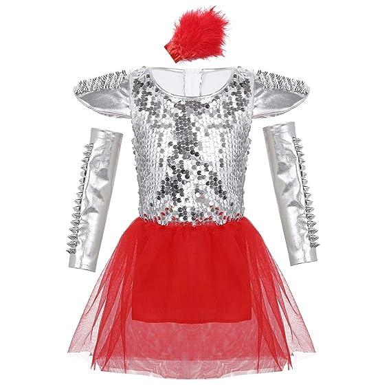 inhzoy Vestido de Danza Jazz Lentejuelas para Niña Traje de ...