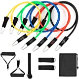 Resistance Bands Set for Men/Women (11Pcs), Exercise Bands Stackable up to 150lbs with Door Anchor, Handles, Legs Ankle…
