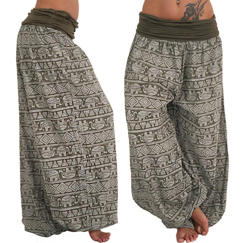 Creazrise Womens Printed Band Width Loose Wide Leg Pants Casual Lounge Palazzo Pants Plus Size