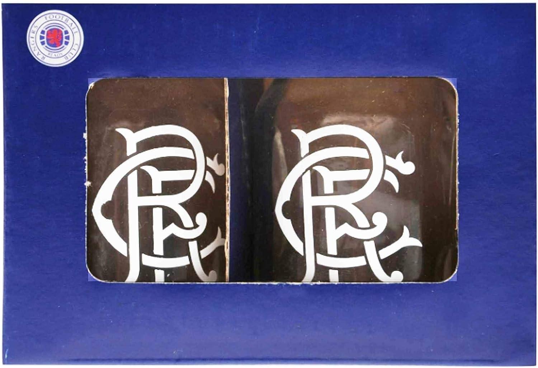 RFC Champions Official Rangers FC Football Crest Twin Mason Shot Glass Set