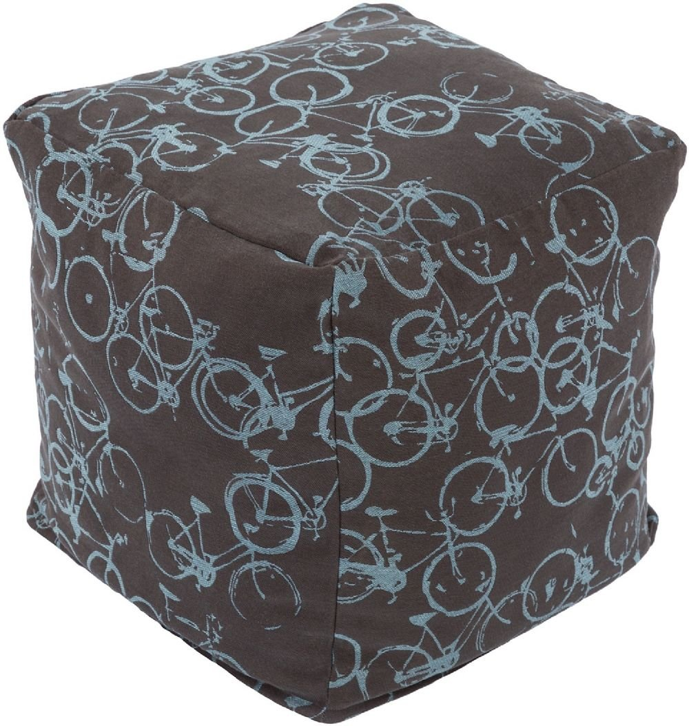 Surya Kids Square pouf/ottoman 18''x18''x18'' in Brown, Sky Blue Color From Peddle Power Collection