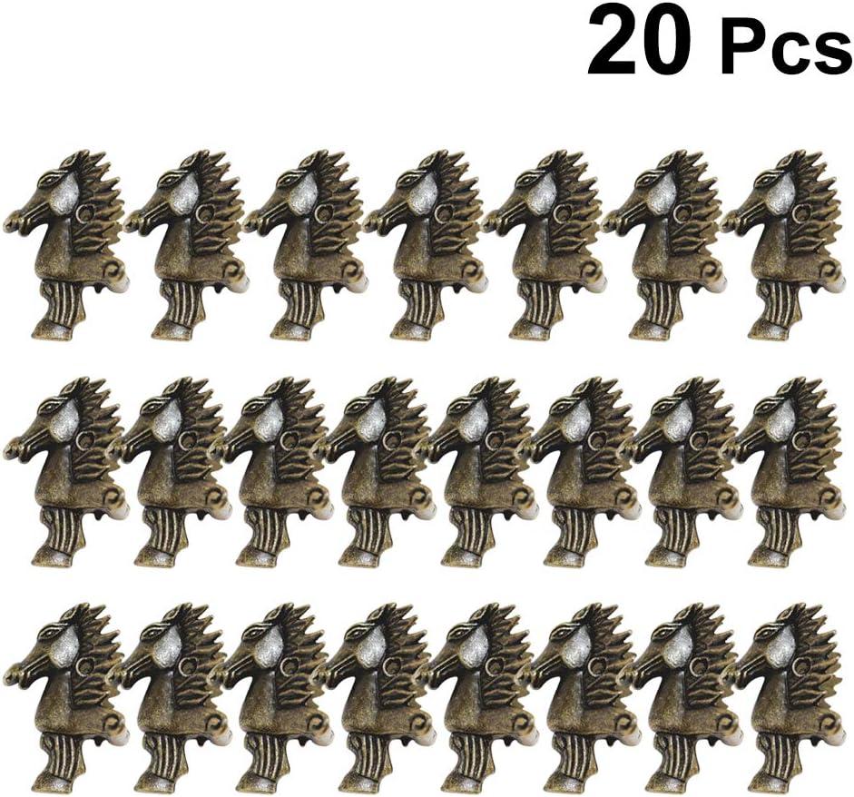 Vosarea 20 piezas Caja de lat/ón antiguo de aleaci/ón Cabeza de caballo Joyero Caja de Regalo Pies decorativos Patas Metal esquina Protector para relieve madera Case Decor 39 x 24 mm Verde Bronce