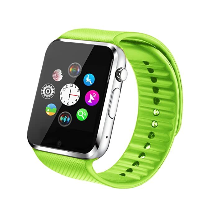 53c4267a375 Fantime Smart Watch Bluetooth Wrist Watches Phone Mate SIM TF Camera  Pedometer for Android and iPhone (Green)  Amazon.ca  Watches