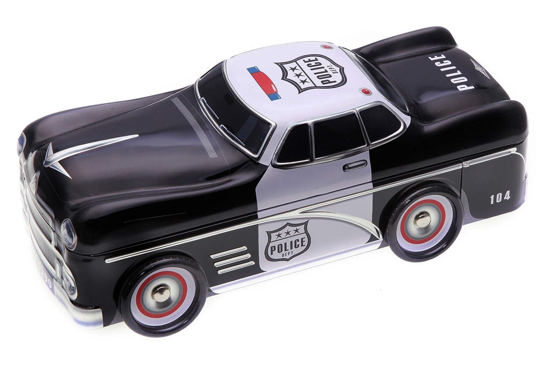 Polizeiauto mit drehbaren Rädern, Geschenk-/ Aufbewahrungsdose, Deko, Blech-/ Keksdose, Vol. 1,3l POWERHAUS24