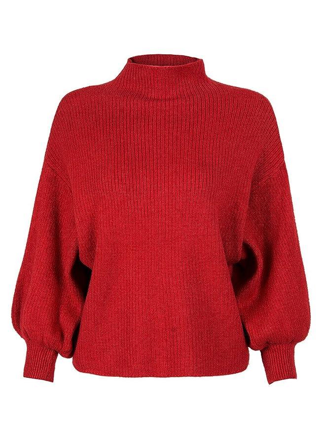69b926760f48 PERSUN Women s Black Turtleneck Long Puff Sleeve Loose Knit Pullover ...