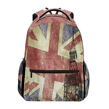 Big Ben con bandera de Reino Unido mochila para portátil, resistente al agua, para