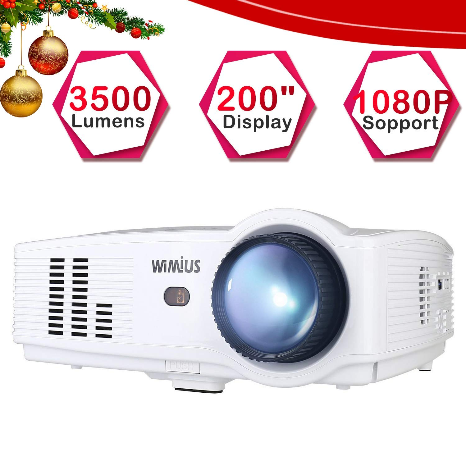 Proyector Full HD, Proyectores LED 3500 Lúmenes 1080P Proyector Video Portátil WiMiUS T4 Projector LCD Home Cinema Apoyo 1920*1080 HDMI VGA USB SD ...