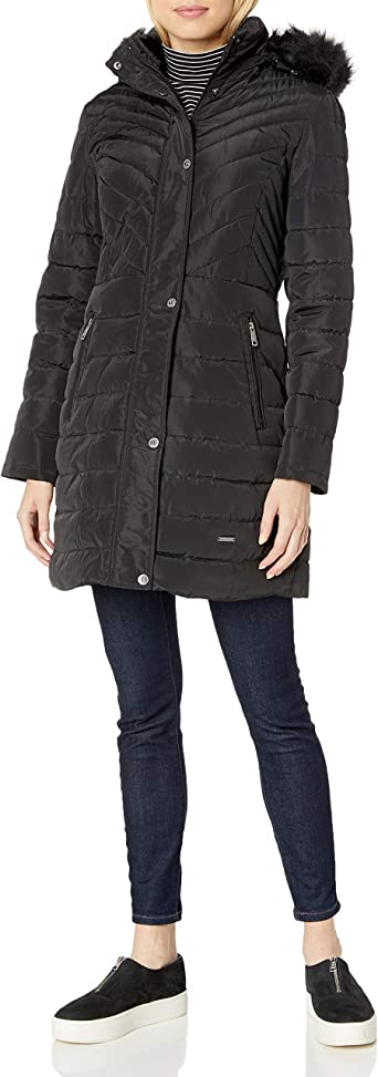 Kenneth Cole Womens Belted Puffer with Faux Fur Trimmed Hood