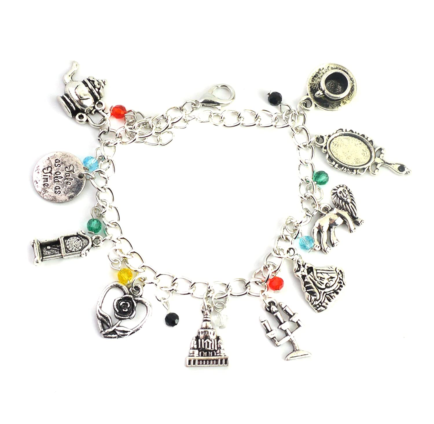 Beauty And The Beast Charm Bracelet - Movie Inspired Silver Bracelet For Girls in Gift Box Beaux Bijoux FG