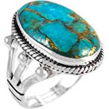 Turquoise Ring in Sterling Silver 925 & Genuine Turquoise Size 6 to 11