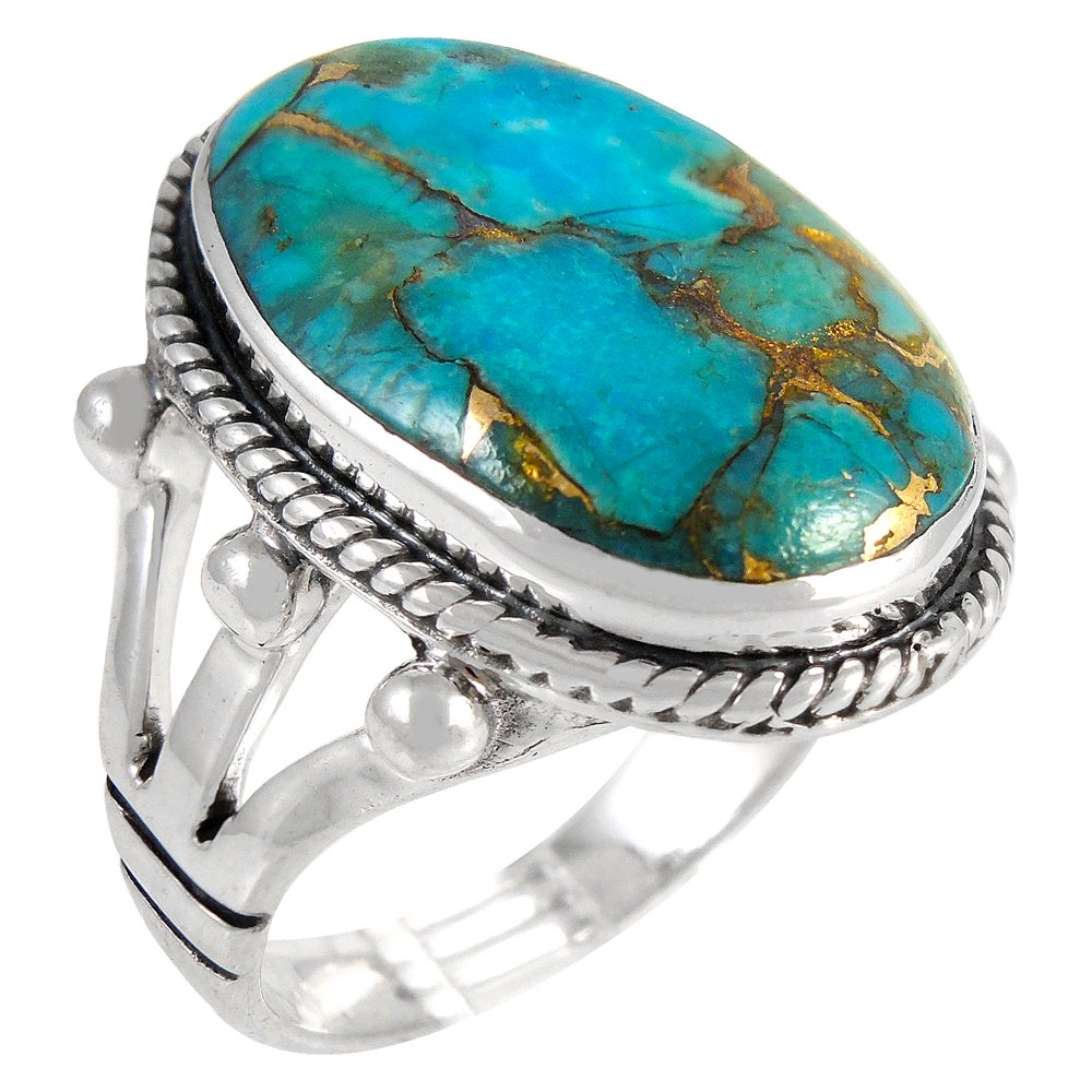 Turquoise Ring in Sterling Silver 925 & Genuine Turquoise Size 6 to 11 (6) by Turquoise Network