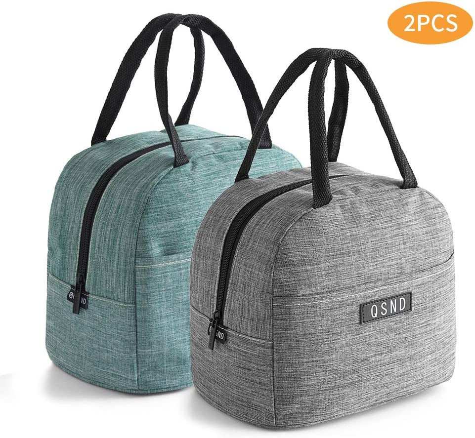 HiPretty 2PCS insulated Tote Lunch Bags, Packit Freezable lunch bag, Leakproof Lunch Box For Women, Men, Teen and Kids(Gray, Green)