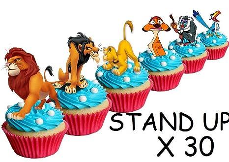Lot de 30 décorations comestibles «Le Roi Lion» pour cupcakes et gâteaux