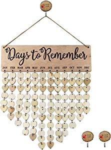 Oopsu Wooden Birthday Plaque Commemorative Plaque Reminder Calendar Board Wall Hanging Family Blessings Calendar for Home Office Classroom Wall Decor