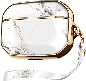 GVIEWIN Aurora Series AirPods Pro Case, Stylish Marble Full Body Protective Hard Shell Women Cute Cover with Wrist Strap for AirPod Pro Charging Case 2019 [Front LED Visible] (White/Gold)