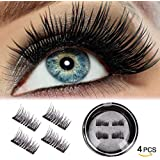 MAOKU Magnetic False Eyelashes, 3D Black Dual Magnetic, Ultra Thick Ultra Solf and Long for Entire Eyes, Glamorous, Natural Look, Handmade Reusable Eyelashes 1Pair/4Pcs (Black)