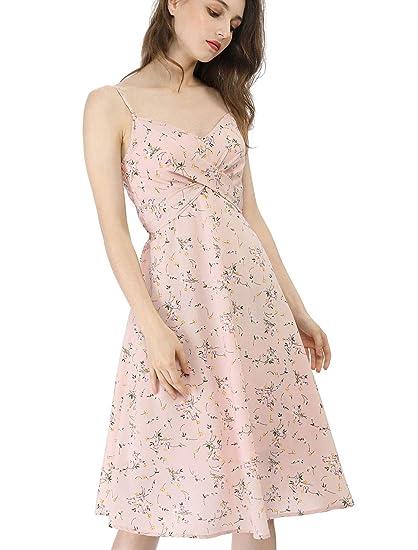66cdeb529d Allegra K Women's Summer Floral Strap Twist Front Swing Knee Length  Spaghetti Dress Pink XS (