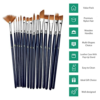 19 Pcs Paint Brushes Set, Atmoko Nylon Hair Paint Brush, with Tray Palette,  Palette Knife, Line Drawing Pen, Nylon Leather Storage Bag, for