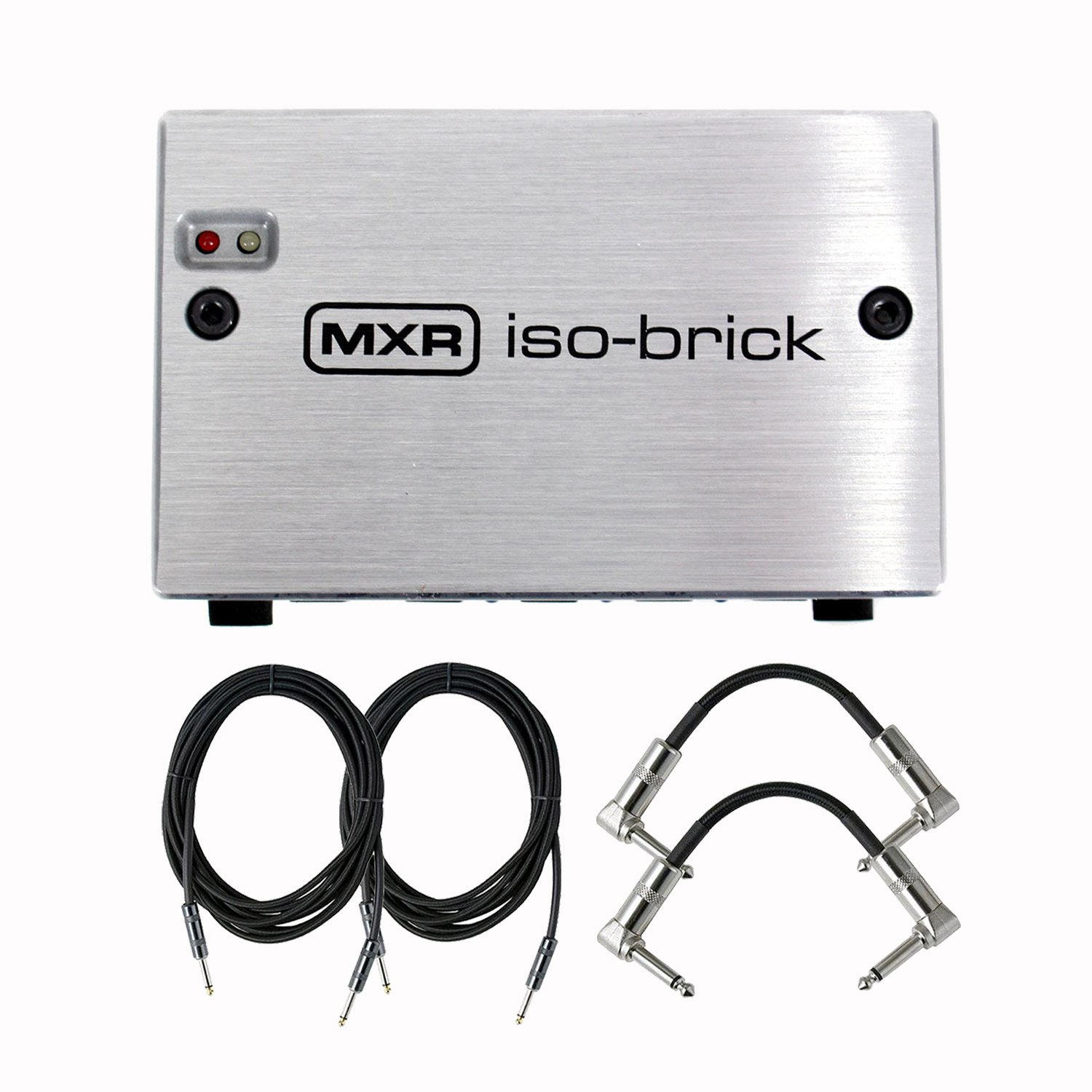 Dunlop MXR M238 Iso-Brick Power Supply With a Pair of Patch Cables and Instrument Cables