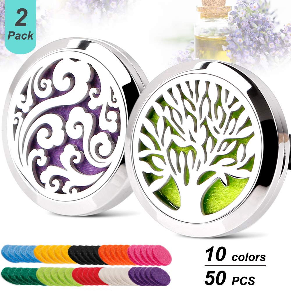 2 Pack Aromatherapy Essential Oil Car Diffuser Vent Clip with 20 Refill Pads, Car Air Freshener Fragrance Diffuser Stainless Steel Locket YIHAIONLY