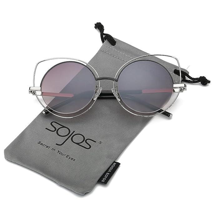 SOJOS Moda Twin-Beams Occhi di Gatto Donna Specchio Metallo Telaio Occhiali da Sole Cat Eye Women Sunglasses SJ1001 Con Oro Telaio/Grigio Lente qia4Grn