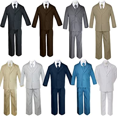 5pc Baby Boy Toddler Kid Party Wedding Formal Party Suit Black w// Extra Tie S-7