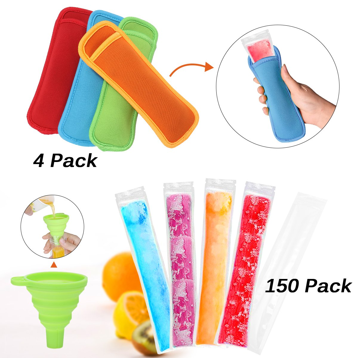 Janolia Ice Popsicle Mold Bags, 150 Pcs Ice Pop Bags with Popsicle Sleeves, BPA Free Freezer Tubes With Zip Seals, Come with a Funnel, for DIY Ice Pop, Healthy, Full Vitamin Snacks