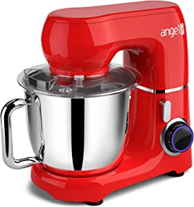 Mini angel Stand Mixer,10-Speed 5.5QT Kitchen Electric Mixer with DIY Color Stickers,Tilt-Head Food Mixer with Dough Hook, Wire Whisk, Flat Beater, Stainless Steel Bowl - Red