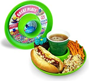 GREATPLATE Food Tray and Beverage Holder for Parties, Reusable, Heavy Duty and BPA Free Plastic, 10 Inch (6, Lime)