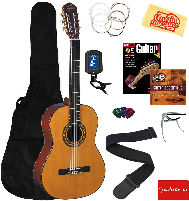Oscar Schmidt OC11-A-U Classical Guitar - Natural Mahogany Bundle with Gig Bag, Strings, Tuner, Strap, Picks, Instructional Book, DVD, Capo, and Austin Bazaar Polishing Cloth by Oscar Schmidt