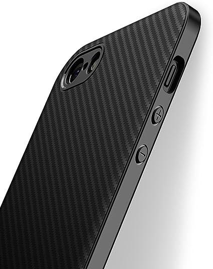 J Jecent Cover iPhone 5/5S/SE [Design Fibra di Carbonio] Custodia Case di Protezione in Silicone TPU [Anticaduta, Antiscivolo, AntiGraffio, Antiurto] ...