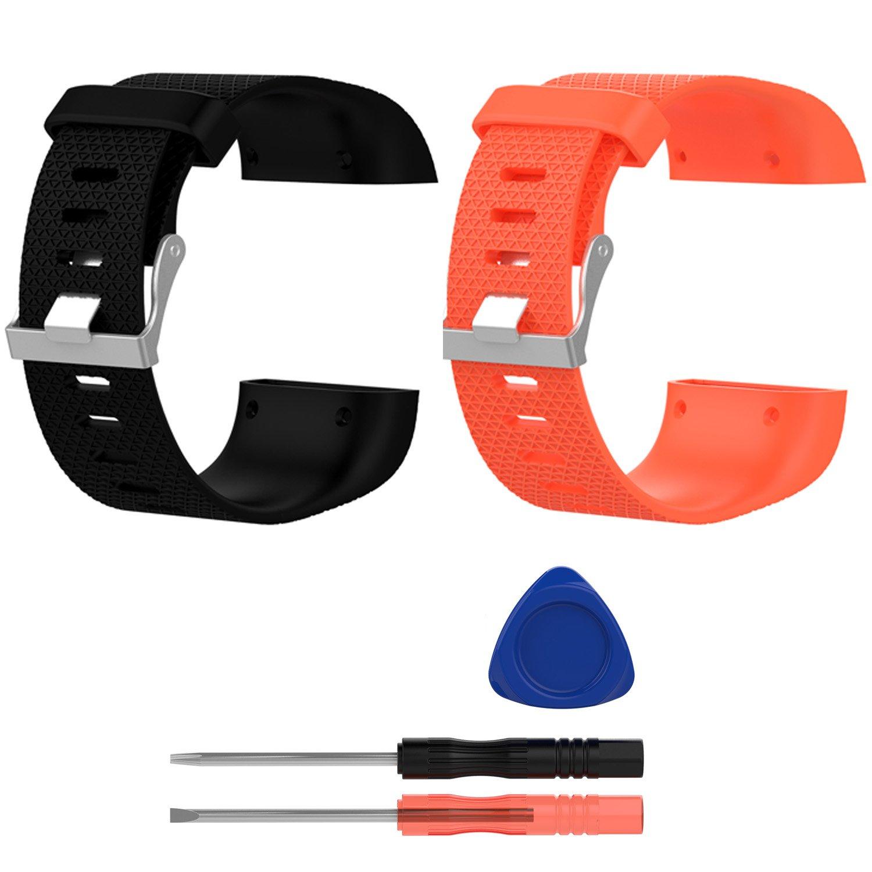 E Ecsem交換用バンドfor Fitbit Surge、Large、シリコンWristbands/ストラップfor Fitbit Surge Fitness Superwatch、2pcs B074RF9WSV 2pcs-F