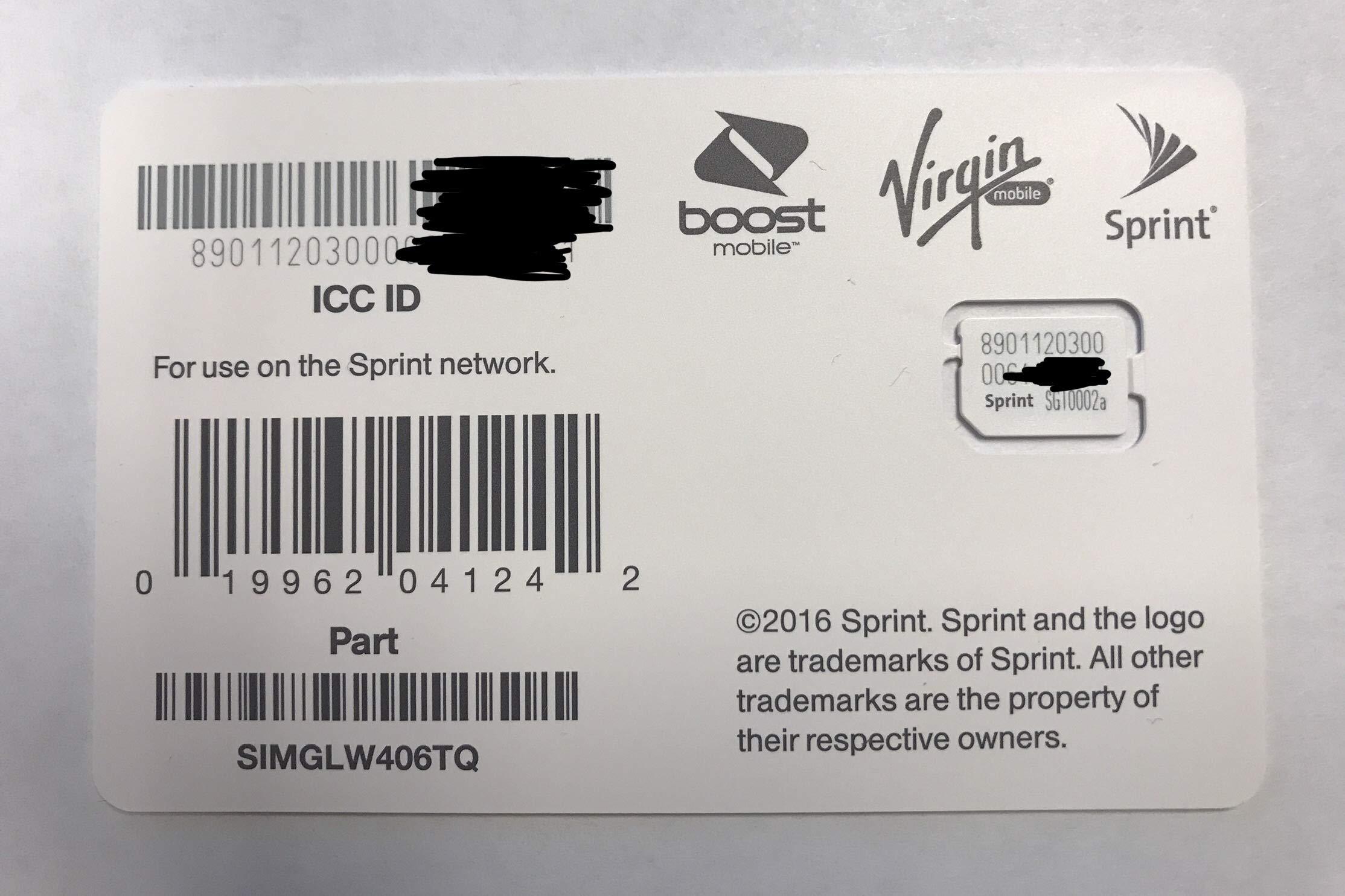 Sprint UICC ICC Nano SIM Card SIMGLW406TQ - Moto G6 Play, Galaxy S9, Samsung A6 by Sprint