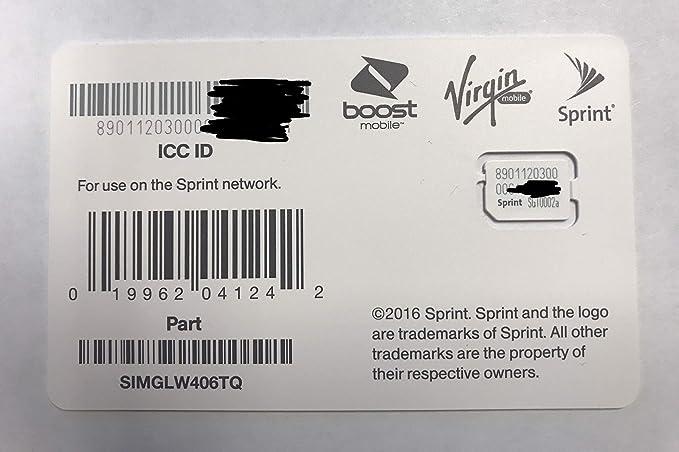 Amazon.com: Sprint UICC SIMGLW406TQ ICC Nano SIM Card - Moto ...