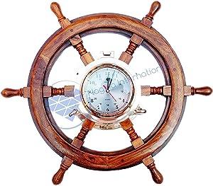 Nagina International Pirate Style Nautical Wood Crafted Ship Wheel   Teak Finish   Captain Maritime Beach Home Decor Gift (30 Inches)
