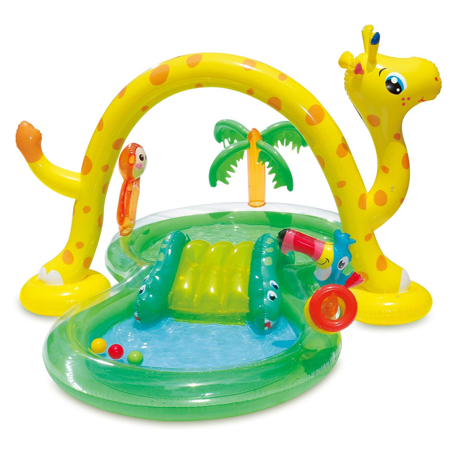 Summer Waves 8.5ft x 6.3ft x 50in Inflatable Jungle Animal Kiddie Swimming Pool Play Center w/Slide by Summer Waves