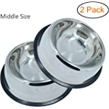 Whippy Stainless Steel Dog Bowl For Small/Medium/Large Pets (set of 2)