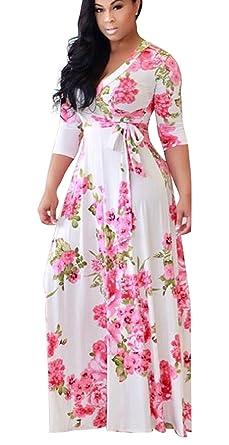 17ce7ca014f Landove Robe Longue Femme Boheme Manche 3 4 Été Tunique Col V Fleurie  Vintage Chic