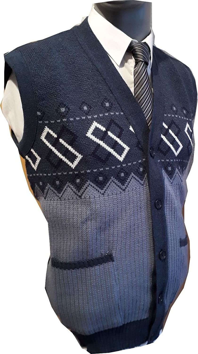 Big Sizes Sleeveless Button up Mens Waistcoat Cardigans Tank Top Sweater/Jumper Cardigan