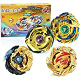 Ingooood Metal Master Fusion Gyro Toys for Kids, 4X High Performance Tops Attack Set with Launcher and Grip Starter Set…