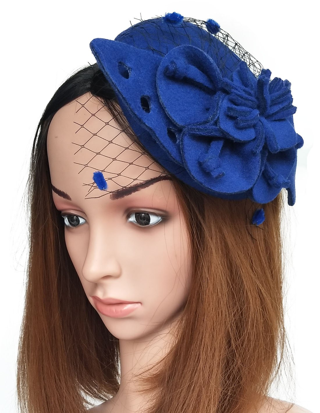 Coolwife Fascinators Womens Pillbox Hat Woolen Flower Veil Cocktail Tea Party Wedding Hats (Royal Blue)
