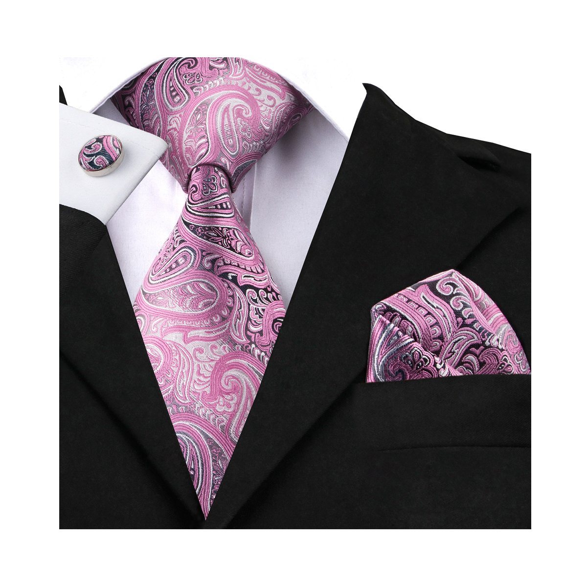 Men Pink Tie Silk Paisley Handkerchief Cufllink Set Stripe Design Wedding