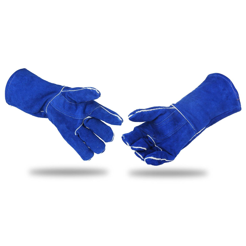 KOBWA 14 Leather Welding Gloves,Blue