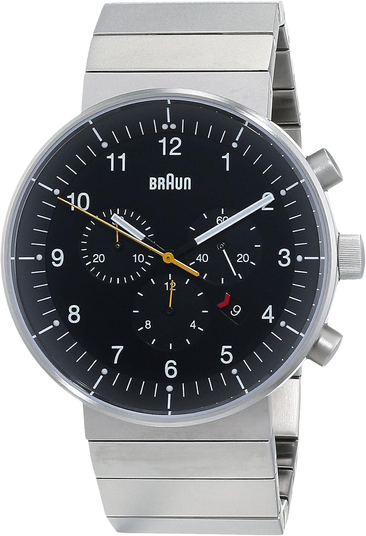 Braun BN0095BKSLBTG - Reloj cronógrafo de cuarzo para hombre, con correa de acero inoxidable