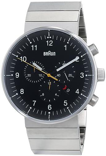 Braun BN0095BKSLBTG - Reloj analógico de cuarzo unisex, correa de acero inoxidable chapado, Plateado: Amazon.es: Relojes