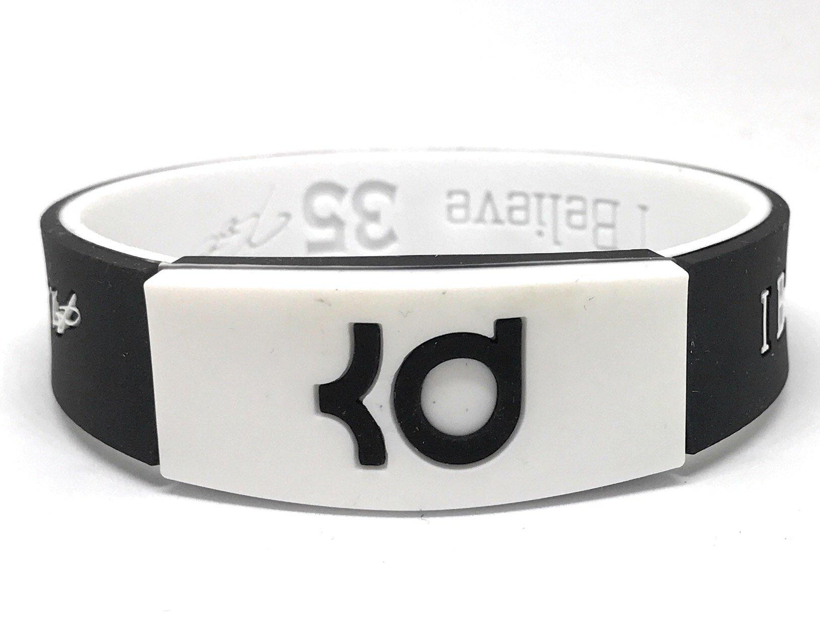 SportsBraceletsPro Reversible Wristband Adult/Teen 7.7'' Size Bracelets (Durant Black/White)