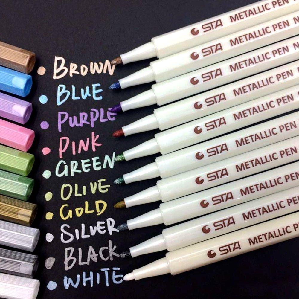 Metallic Marker Pens Set of 10 Vibrant Color Art Paint Marker for Crafts Photo Scrapbook Album Glass Plastic Pottery WonderforU wonder010