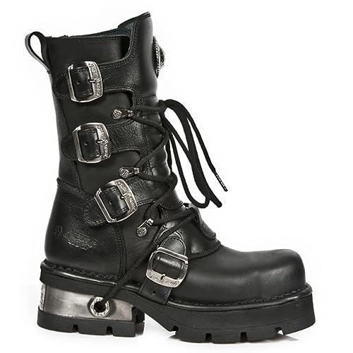 15cfa37ca82 New Rock - Botas de Cuero para Mujer Negro Negro 40  Amazon.es  Zapatos y  complementos