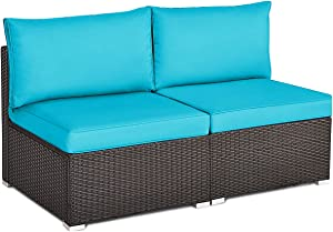 Tangkula 2 PCS Outdoor Wicker Armless Sofa, Patio Rattan Sectional Sofa Set w/2 Thick Cushions and 2 Pillows, Additional Seats for Balcony Garden Patio Poolside (Turquoise)