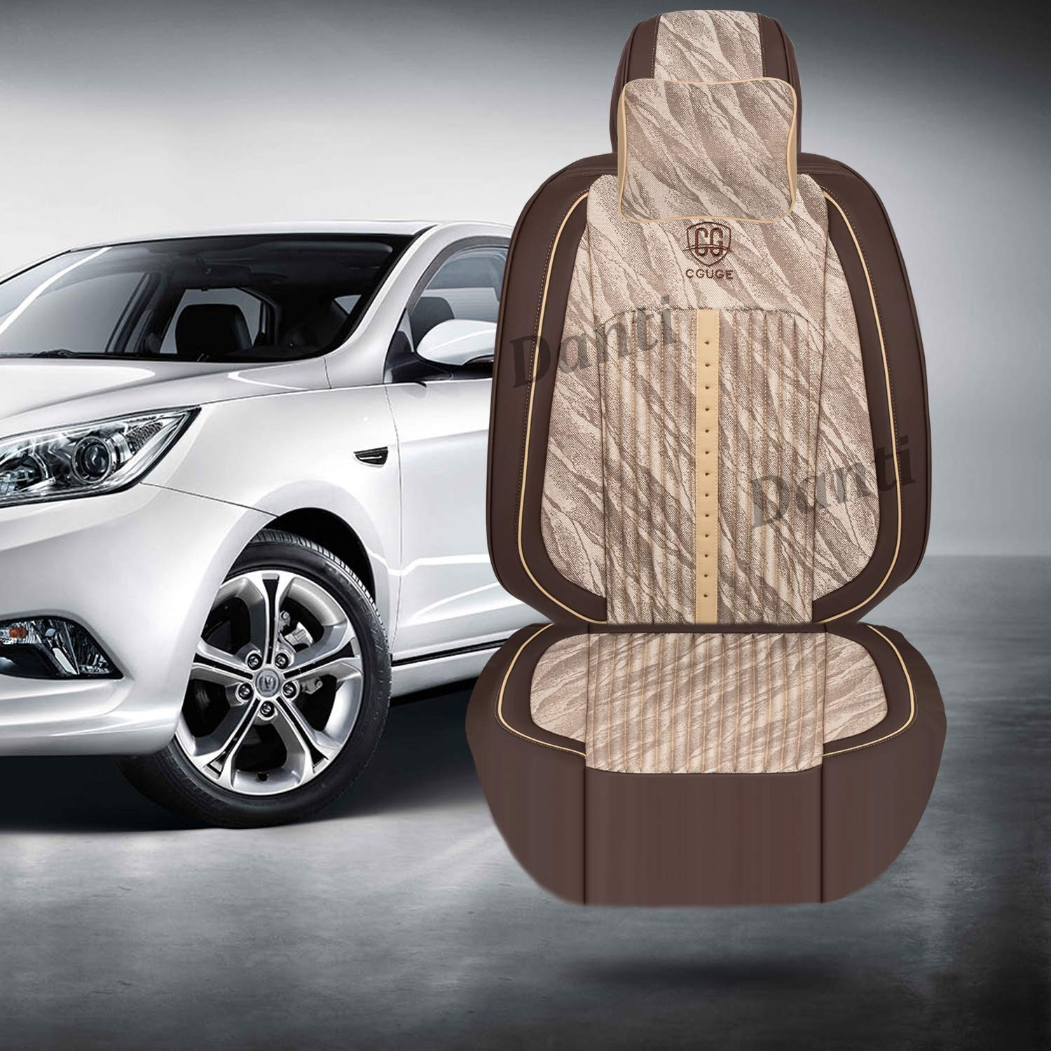 Danti 15 PCS Universal Full Set PU Leather Front and Rear Car Seat Cushion Cover Seat Pad Protector Suitable for All Years Use Beige